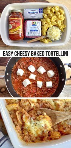 I Love Food, Good Food, Yummy Food, Tortellini Bake, Cheese Tortellini Recipes, Le Diner, Easy Dinner Recipes, Yummy Easy Dinners, Easy Meals For Dinner