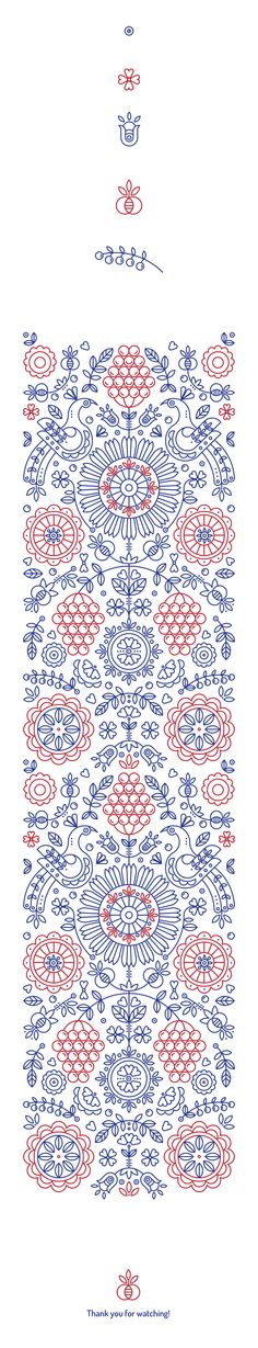 Ethnic pattern based on authentic symbols of classic Ukrainian drawings. Folk art line art formed into a simple yet complex pattern Ethnic Patterns, Pretty Patterns, Textile Patterns, Textile Design, Embroidery Patterns, Flower Patterns, Web Design, Design Art, Design Ideas