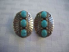 Elegant Vintage NAVAJO Hand Stamped Sterling Silver & TURQUOISE Concho EARRINGS