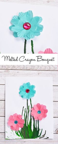Melted Crayon Bouquet - I Heart Arts n Crafts Cute Kids Crafts, Craft Activities For Kids, Craft Ideas, Mothers Day Presents, Mothers Day Crafts, Flower Crafts, Flower Art, Art N Craft, Crayon Art