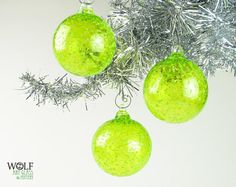 Blown Glass Christmas Tree Holiday Ornaments in Neon Green by wolfartglass