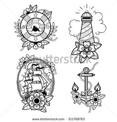 Set of old school tattoos with lifebuoy, lighthouse, ship and anchor. Tradition tattoo ink design.  #tattooart #tattoo #oldschoo