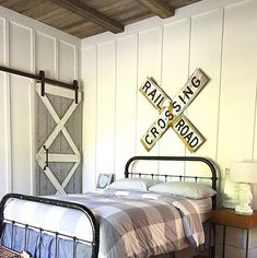Farmhouse For Four | Boys Bedroom | Barn Door | Board and Batten~Ceiling treatment using salvaged old fence boards