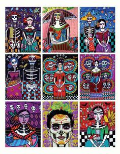Mexican Folk Art - Set of 9 ACEO Card PRINTs - Frida Day of the Dead - Wedding Gifts   HeatherGaller - Folk Art & Primit