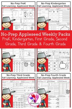 Johnny Appleseed No-Prep Weekly Packs PreK, Kindergarten, First Grade, Second Grade, Third Grade & Fourth Grade with 5 days of activities to do for each grade level With loads of apple and Johnny Appleseed activities - You will find a mix of math, language, and more - These are easy to use packs for fall learning, homework, early finisher, and morning work. Easy no-prep printables for kids with four pages for each day - 3Dinosaurs.com #weeklypacks #noprep #3dinosaurs Sixth Grade, First Grade, Second Grade, Apple Activities, Activities To Do, Cursive Words, Johnny Appleseed, Making Words, Compound Words