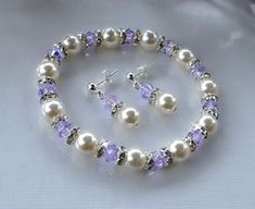 Swarovski Crystal and Pearl Stretchable Bracelet by HeartofGems