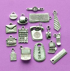 Office Charm Collection Antique Silver Tone 16 by BohemianFindings