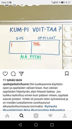 Vinkki rauhalliseen tunnin aloitukseen. Lähde: instagramissa opettajankahvihuone Teaching Procedures, Teaching Tips, Classroom Organization, Classroom Management, Social Skills For Kids, Future Jobs, Beginning Of The School Year, School Lessons, School Classroom