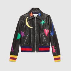 Gucci Women - Intarsia leather bomber jacket - 433916XG2271228
