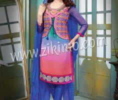 Zikimo Blue Georgette Kitti Style Party Wear Straight Suit