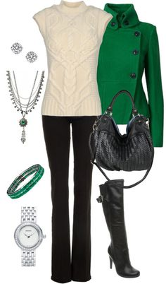 """Black/Green/Silver"" by manda3482 ❤ liked on Polyvore"