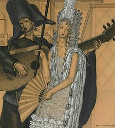 Jean Dupas - Untitled (Spanish Noble Woman Standing with Lutist)  1929
