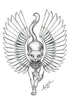 Egyptian Goddess Bastet most commonly associated with cats, hints the cat face. - Egyptian Goddess Bastet most commonly associated with cats, hints the cat face. Egyptian Cat Tattoos, Egyptian Cats, Egyptian Symbols, Egyptian Mythology, Egyptian Tattoo Sleeve, Egyptian Goddess Tattoo, Bastet Goddess, Egyptian Drawings, Ancient Egyptian Art