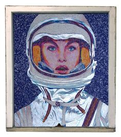 """Celest 31"""" x 36"""" - 100% Recycled Candy Wrappers. #reclaimed #windowpane frame. Go to my website to view the hover effect. In low light, the silver gum wrappers illuminate. #recycledart #space #spacesuit #woman #astronaut #silver #mosaic #collage"""