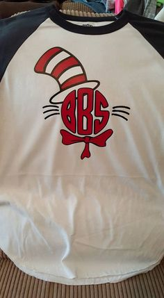 Personalized Cat In The Hat Monogram Raglan Shirt/Dr. Seuss Shirt by JANDDDESIGNS2015 on Etsy