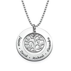 Special for Mothers  Personalized Family Tree Necklace  Engraved with Any Name Sterling Silver 22 Inches *** Read more reviews of the product by visiting the link on the image.(This is an Amazon affiliate link)