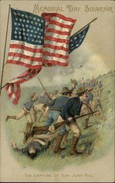 *PATRIOTIC ~ Winsch Memorial Day San Juan Hill  c1910 Postcard - Rough Riders