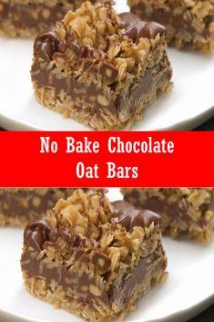 Easy No-Bake Chocolate Oat Bars - Dessert No Bake Chocolate Desserts, Chocolate Oatmeal Cookies, Chocolate Oats, Köstliche Desserts, Delicious Desserts, Dessert Recipes, Yummy Food, Chocolate Chips, Chocolate Liquor
