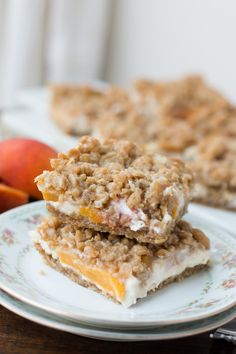 Best Recipe for peaches and cream crumble bars!! ohsweetbasil.com