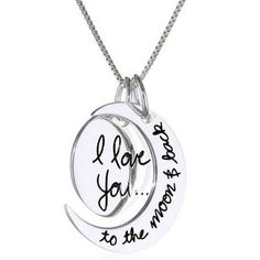 "Sterling Silver ""I Love You To The Moon and Back"" Two Piece Pendant Necklace I just think its cute (I'd probably give it to my sisters as a gift not for myself) Back Necklace, Moon Necklace, Pendant Necklace, Necklace Charm, Jewelry Box, Jewlery, Jewelry Accessories, Jewelry Necklaces, Girl Swag"
