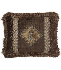 dark chocolate croc. chenille rectangle pillow with jeweled crown and brush fringe