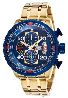 Invicta 19173 Watches,Men's Aviator Chronograph 18K Gold Plated Steel Blue Dial, Aviation Invicta Quartz Watches