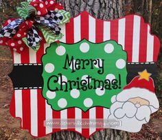 Christmas Door Hanger: Stripe and Polkadot Santa by SparkledWhimsy