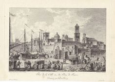 Italian 18th C engraved View of the Town Port of Bari