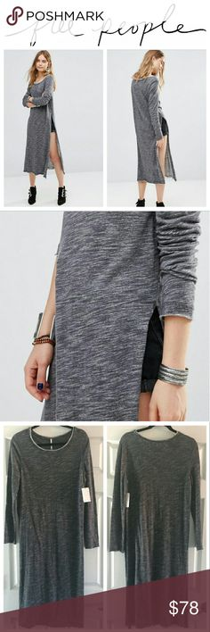 Free People To The Max Longline Top Free People To The Max Longline Sweat Top  Soft-touch jersey, Scoop neckline, Raw-edge detailing, Side splits, Longline cut, Fits true to size  - Machine wash - 100% Cotton - Color: Charcoal Free People Tops