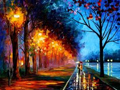 """""""Leonid Afremov is a Belarus born, Israeli modern painter who creates unique landscapes, cityscapes and figures using a palette knife rather than a brush to paint."""""""