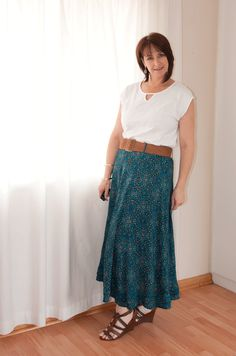 Maxi skirt styled for summer with a white t-shirt and wedges #Edgars #Wedges