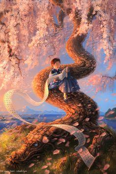 Dragon Blossom Print Fantasy Fine Art Nursery