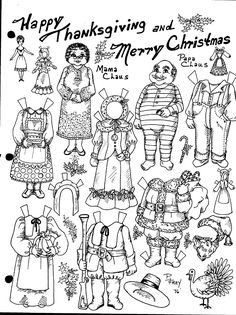 Today I want to share with you some paperdolls that have clothes for different seasons, as opposed to a paper doll with clothes dedicat. Budget Crafts, Operation Christmas Child, Different Seasons, Mamas And Papas, Old Cartoons, Black And White Drawing, Santa And Reindeer, All Paper, Holiday Themes