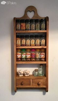 I made this Pallet Spice Rack from a combination of 2 pallets. It has c… I made this Pallet Spice Rack from a combination of 2 pallets. It has curved sides and a decorative heart cutout, and sealed with wax! Wooden Pallet Projects, Wooden Pallet Furniture, Pallet Crafts, Wooden Pallets, Pallet Ideas, Pallet Furniture Projects, Upcycled Furniture, Diy Projects, 1001 Pallets