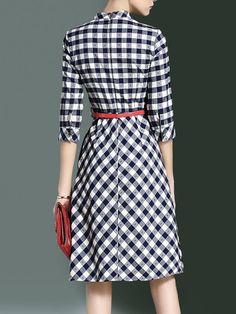 Vintage Stand Collar 3/4 Sleeve A-line Shirt Dress with Belt