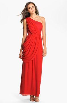 One Shoulder Chiffon Long Red Dress