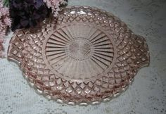 Vintage Pink Depression Serving Tray Waterford Waffle pattern ~ Anchor Hocking. $10.00