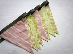 Green Floral Wedding Bunting Natural theme garden by BellaandRoo