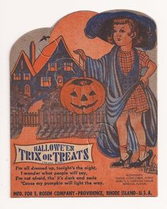 Vintage Halloween Ephemera ~ Halloween Trix or Treats Sucker Card by E. Rosen Company * Circa, 1950's