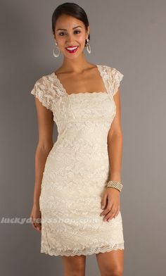 lace clothing for women | Ivory Sheath/Column Lace Women Dress With Lace And Short Sleeve ...