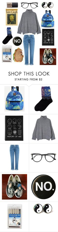 """""""My art hoe aesthetic"""" by supernova-1000 ❤ liked on Polyvore featuring HOT SOX, Current/Elliott, Gucci, Vans and NARS Cosmetics"""