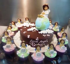 Earth Angel Christening Cake and Cupcakes