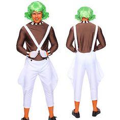 Charming Mens Candy Creator Umpa Lumpa Oompa Loompa Costume Adult Outfit Male Fancy  Dress