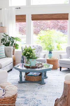 Beachy Blue & Green Summer Living Room Tour - The Happy Housie