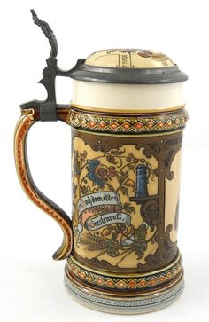Image detail for -1894 Mettlach Anheuser Busch Beer Stein #2136 : Lot 110