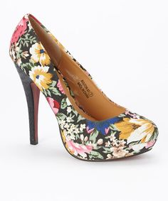 Look at this #zulilyfind! Black Floral Bouton Platform Pump by Marilyn Moda #zulilyfinds