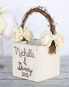 Personalized Flower Girl Basket  Vintage Paper Roses Rustic Wedding (Item Number 140183) on Etsy, $42.50