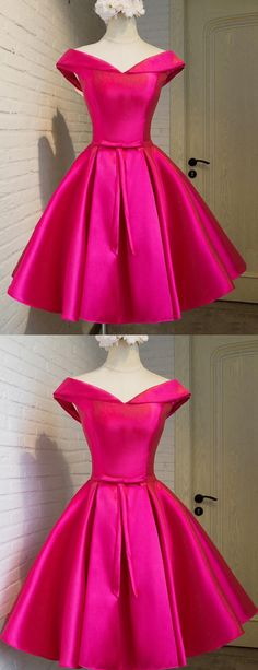 Off Shoulder Homecoming Dress, Short Fuchsia Prom Dress, Party Dress with Bow Lace-up