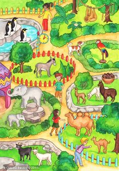 Illustrator: Claudia Bauer Title: In the Zoo Tags: Theme: Games, Social, . Art Drawings For Kids, Art For Kids, Zoo Drawing, Wild Animals Pictures, Picture Composition, Picture Writing Prompts, In The Zoo, Speech Therapy Activities, School Pictures