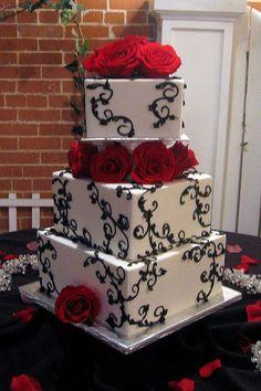 Red black white cake, LOVE THIS!